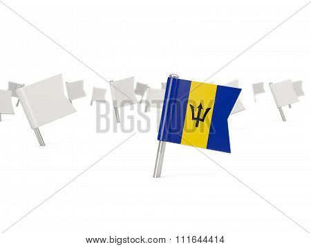 Square Pin With Flag Of Barbados