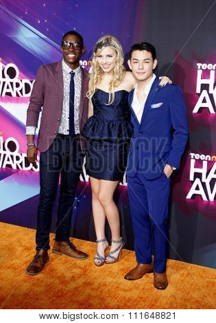Carlos Knight, Gracie Dzienny and Ryan Potter at the 2012 TeenNick HALO Awards held at the Hollywood Palladium in Los Angeles, California, USA on November 17, 2012.