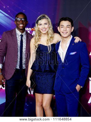 Carlos Knight, Gracie Dzienny and Ryan Potter at the 2012 TeenNick HALO Awards held at the Hollywood Palladium in Los Angeles, California, USA on November 17, 2012.