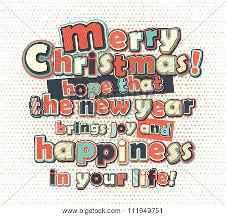 Poster with lettering greetings merry Christmas, happy new year