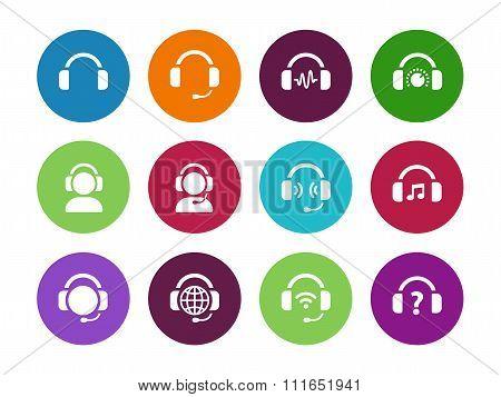 Headset circle icons on white background.