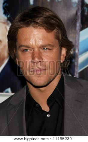 HOLLYWOOD, CALIFORNIA - March 22, 2011. Matt Damon at the Los Angeles premiere of