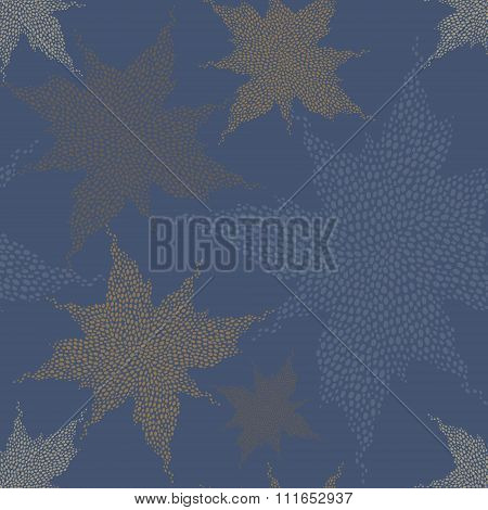 Seamless Pattern With Twinkling Stars, Consisting Of Drops.