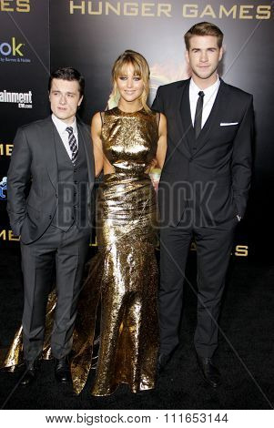 Josh Hutcherson, Jennifer Lawrence and Liam Hemsworth at the Los Angeles Premiere of