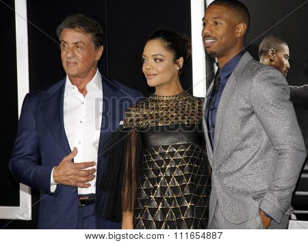 Tessa Thompson, Sylvester Stallone and Michael B. Jordan at the Los Angeles premiere of 'Creed' held at the Regency Village Theatre in Westwood, USA on November 19, 2015.