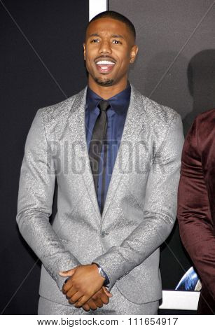 Michael B. Jordan at the Los Angeles premiere of 'Creed' held at the Regency Village Theatre in Westwood, USA on November 19, 2015.
