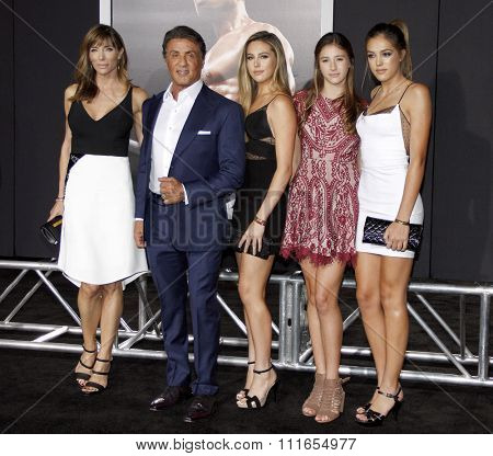 Sistine Stallone, Jennifer Flavin, Sylvester Stallone, Sophia Stallone and Scarlet Stallone at the Los Angeles premiere of 'Creed' held at the Regency Theatre in Westwood, USA on November 19, 2015.