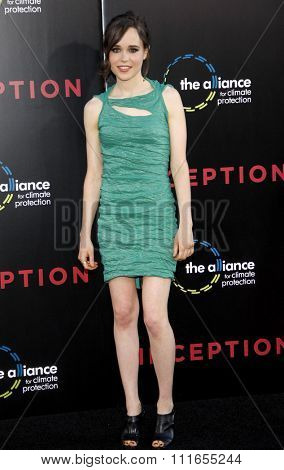 HOLLYWOOD, CALIFORNIA - July 13, 2010. Ellen Page at the Los Angeles premiere of