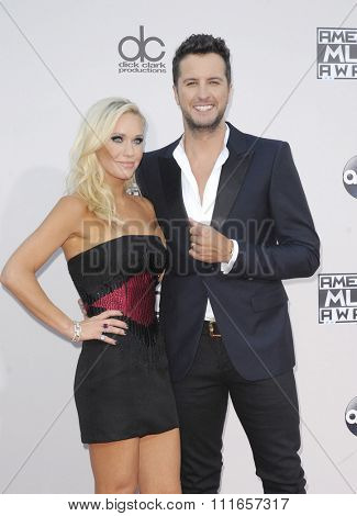 Luke Bryan and Caroline Boyer at the 2015 American Music Awards held at the Microsoft Theater in Los Angeles, USA on November 22, 2015.