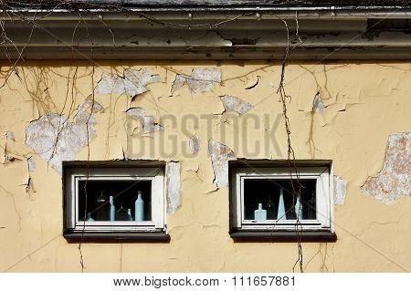 Windows of old ramshacke building