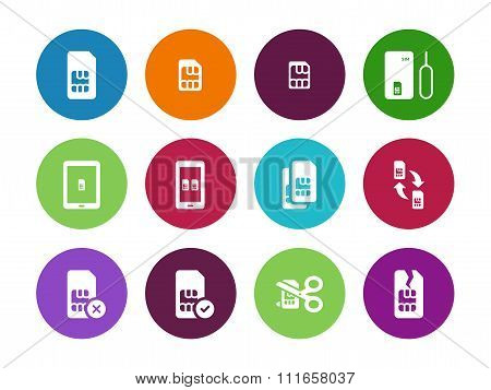 Internet 3G and 4G, lte SIM card circle icons on white background.