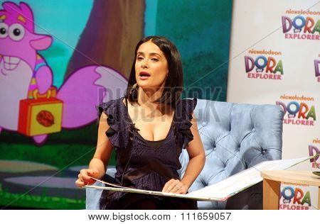 Salma Hayek at the Nickelodeon Dora the Explorer's 10th Anniversary Press Conference held at the Nickelodeon Studios in Burbank, California, United States on March 2, 2010.