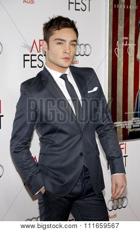 HOLLYWOOD, CALIFORNIA - November 3, 2011. Ed Westwick at the AFI Fest 2011 Opening Night Gala World Premiere Of