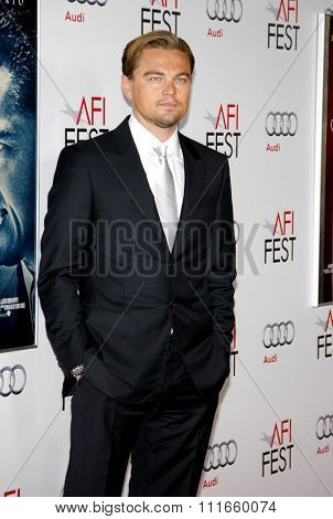 HOLLYWOOD, CALIFORNIA - November 3, 2011. Leonardo DiCaprio at the AFI Fest 2011 Opening Night Gala World Premiere Of