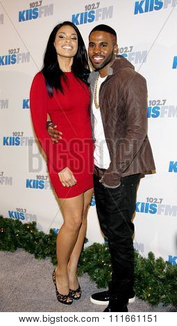 Jordin Sparks and Jason Derulo at the KIIS FM's 2012 Jingle Ball held at the Nokia Theatre L.A. Live in Los Angeles, USA on December 3, 2012.