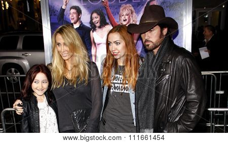 Noah Cyrus, Tish Cyrus, Brandi Cyrus and Billy Ray Cyrus at the Los Angeles Premiere of