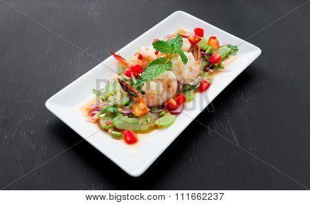 Thai Bitter Gourd Salad With Prawns