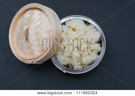 Sticky Rice, Thai Sticky Rice In A Bamboo Wooden Old Style Box