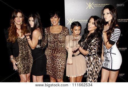 Kris Jenner, Kendall Jenner, Kylie Jenner, Khloe Kardashian, Kim Kardashian and Kourtney Kardashian at the Kardashian Kollection Launch Party held at the Colony in Hollywood, USA on August 17, 2011.