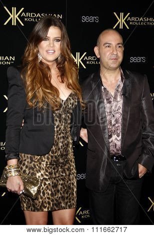 Khloe Kardashian and Bruno at the Kardashian Kollection Launch Party held at the Colony in Hollywood, USA on August 17, 2011.