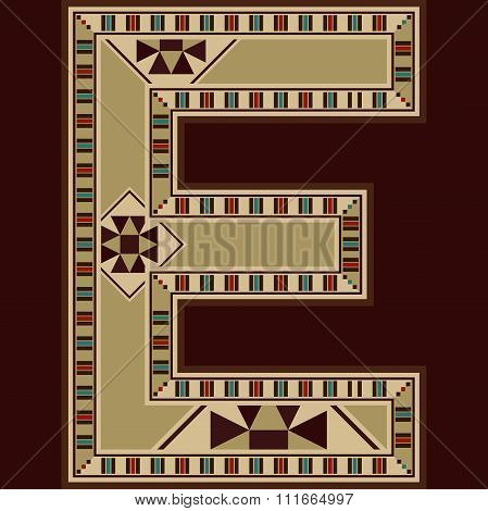 Oriental Wooden Mosaic Decorated Capital Letter E