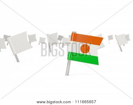 Square Pin With Flag Of Niger