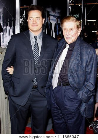 Brendan Fraser and Sumner Redstone at the Los Angeles Premiere of