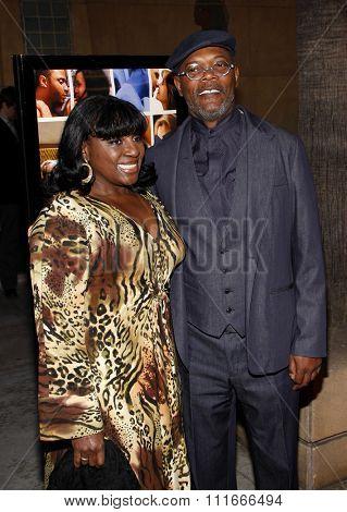 HOLLYWOOD, CALIFORNIA - April 19, 2010. Samuel L. Jackson and LaTanya Richardson at the Los Angeles premiere of