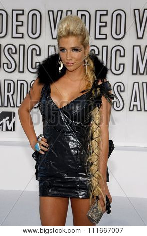 Kesha at the 2010 MTV Video Music Awards held at the Nokia Theatre L.A. Live in Los Angeles, USA on September 12, 2010.