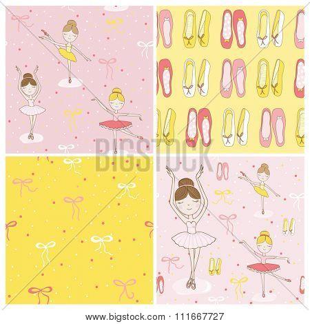 Cute Ballerina Background Set - 4 Seamless Pattern - in vector