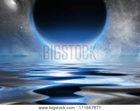 Exosolar Planet Rise over quiet waters