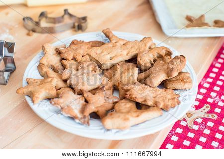 Christmas cookies on plate during winter vacation