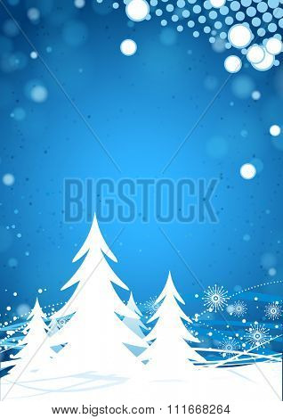 Winter forest on the blue background
