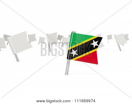 Square Pin With Flag Of Saint Kitts And Nevis