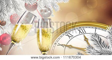 Champagne glasses clinking against orange abstract light spot design