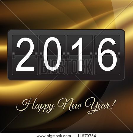 New Years Card With Black Counter With Gradient Mesh, Vector illustration