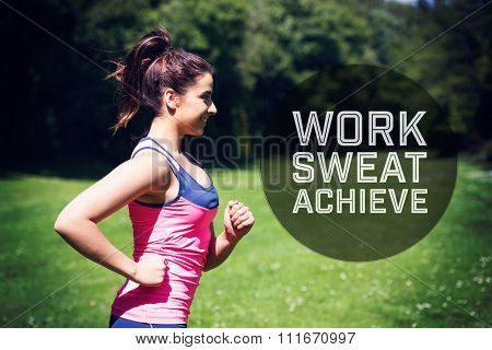 Motivational new years message against fit woman running in the sunshine and smiling