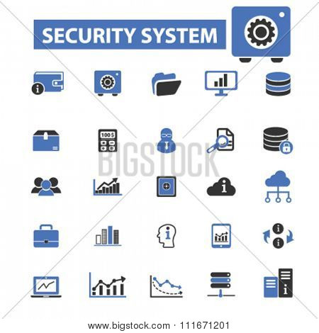 security, system administrator, computer network, connection, database, technology icons, signs vector set for infographics, mobile, website, application
