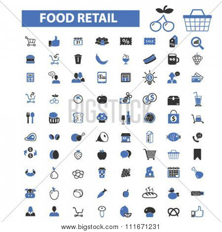 food retail, supermarket shopping retail  icons, signs vector set for infographics, mobile, website, application