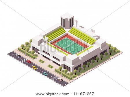 Isometric icon representing tennis stadium