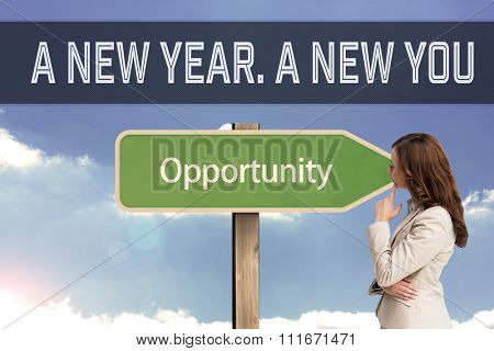 Motivational new years message against composite image of profile view of doubtful businesswoman standing