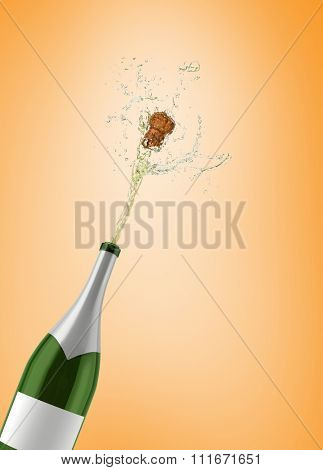Champagne popping against orange vignette