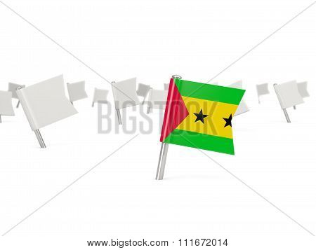Square Pin With Flag Of Sao Tome And Principe