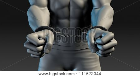 3D Illustration of a Prisoner and Punishment concept