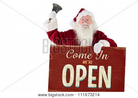 Santa holds a sign and rings his bell against vintage open sign