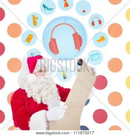 Santa checking list against colorful polka dot pattern