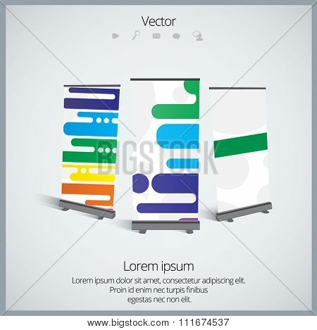 Roll up display banner, vector