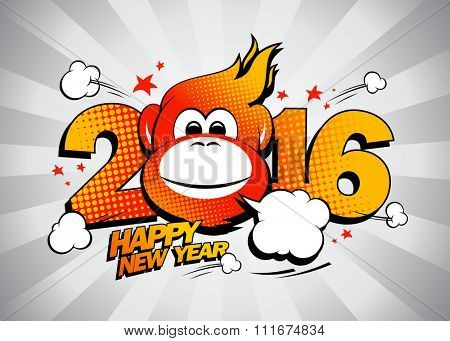 Fiery monkey against gray rays backdrop, comic style 2016 Happy new year design.