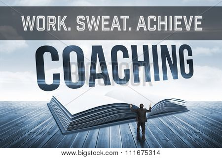 Motivational new years message against coaching against open book against sky