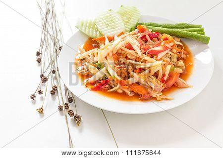 Famous Thai Food, Papaya Salad On White Background